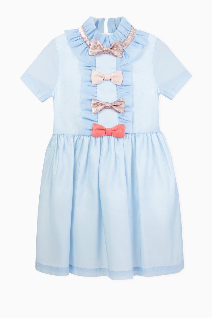 Multi Bow Crepe & Organza Dress