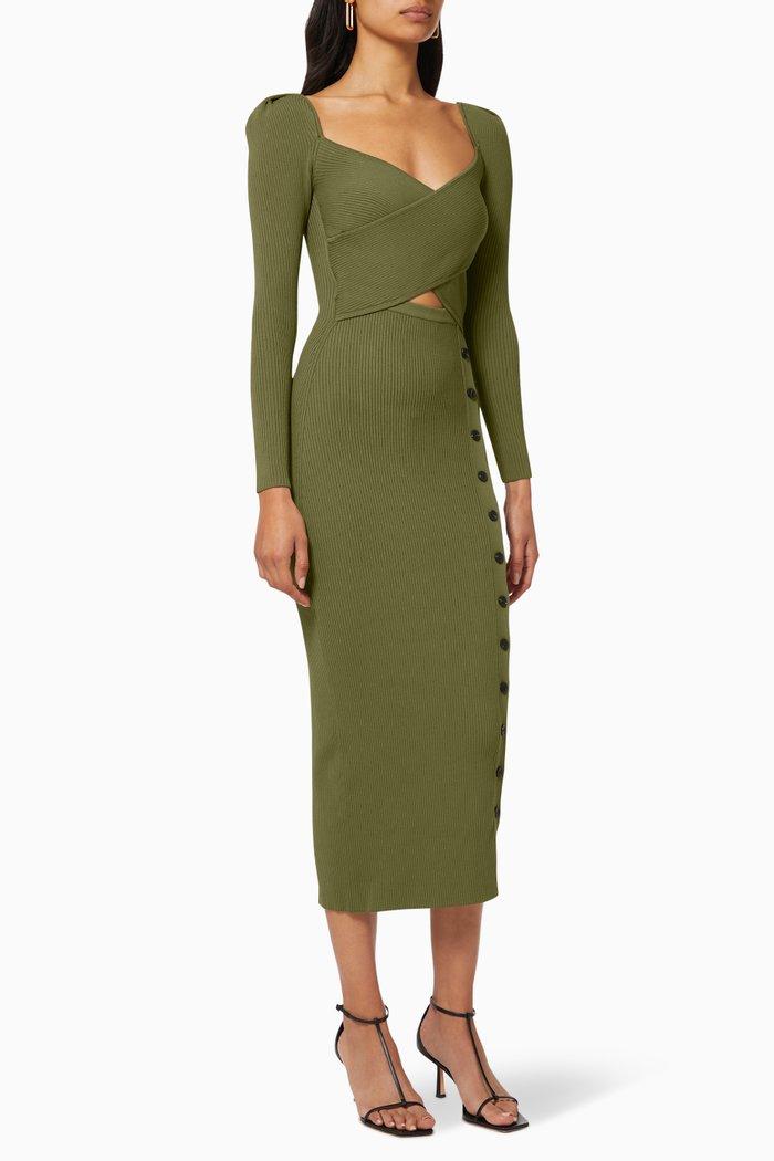 Cut-out Ribbed Knit Midi Dress