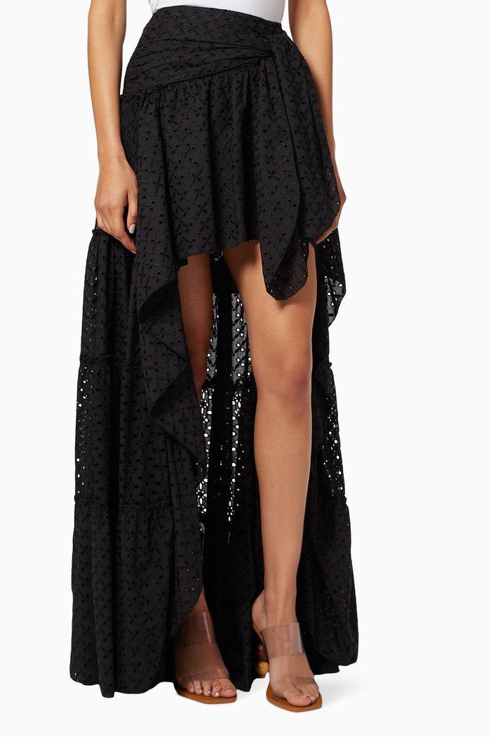 Plaid Cotton-Linen Skirt