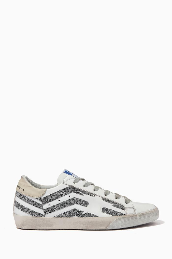 Super-Star Sneakers with Crystal Flag Print and Leopard-print Star in Leather