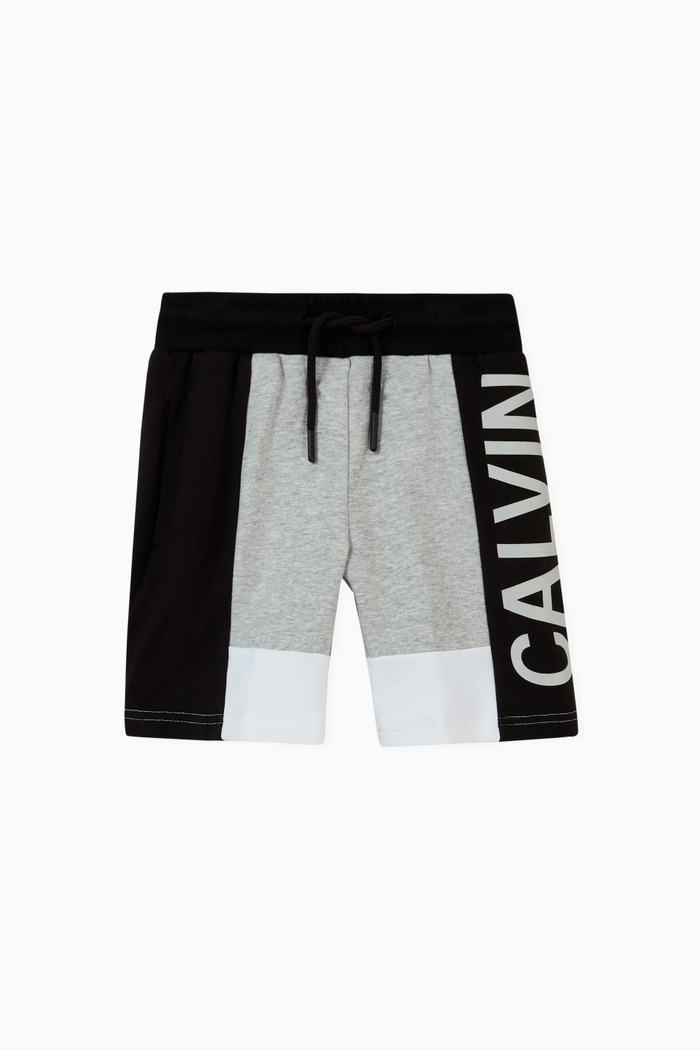 Colour Block Jogger Shorts in Cotton Terry