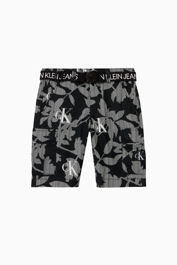 All-Over Printed Cargo Shorts in Cotton Nylon Ripstop