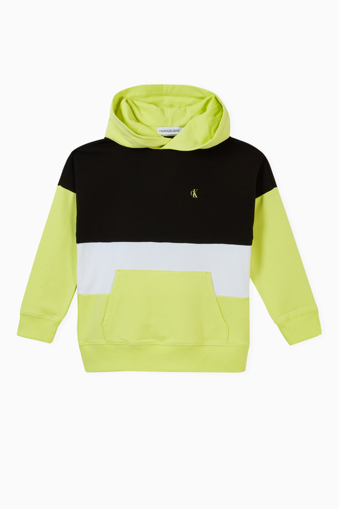 Colour Block Logo Hoodie in Stretch Cotton Terry