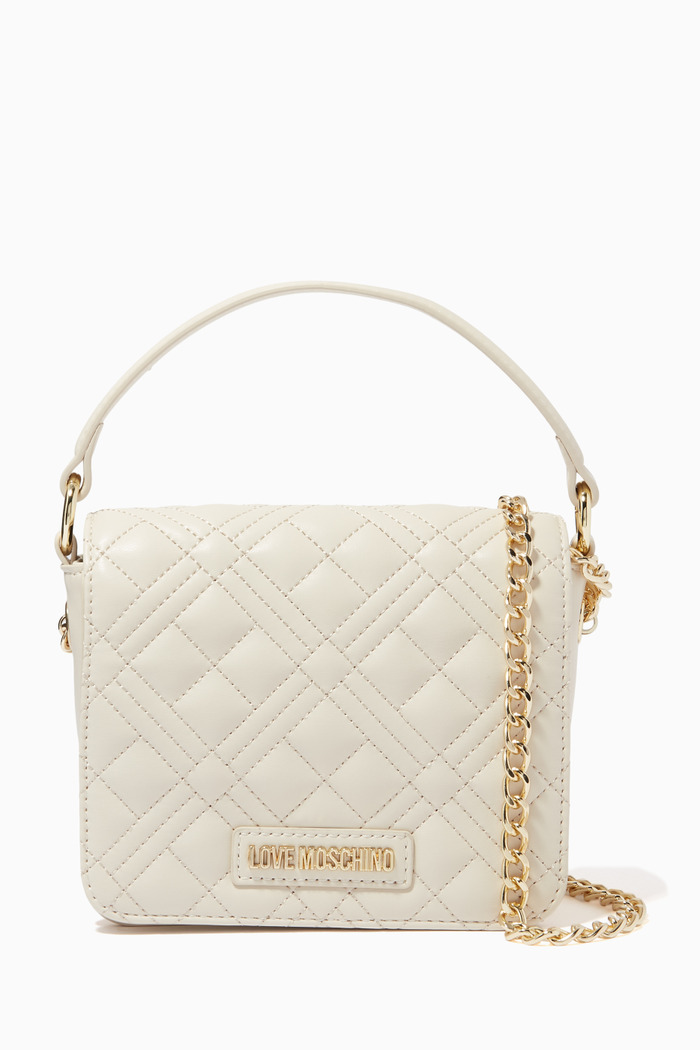 Quilted Top Handle Bag in Faux Leather
