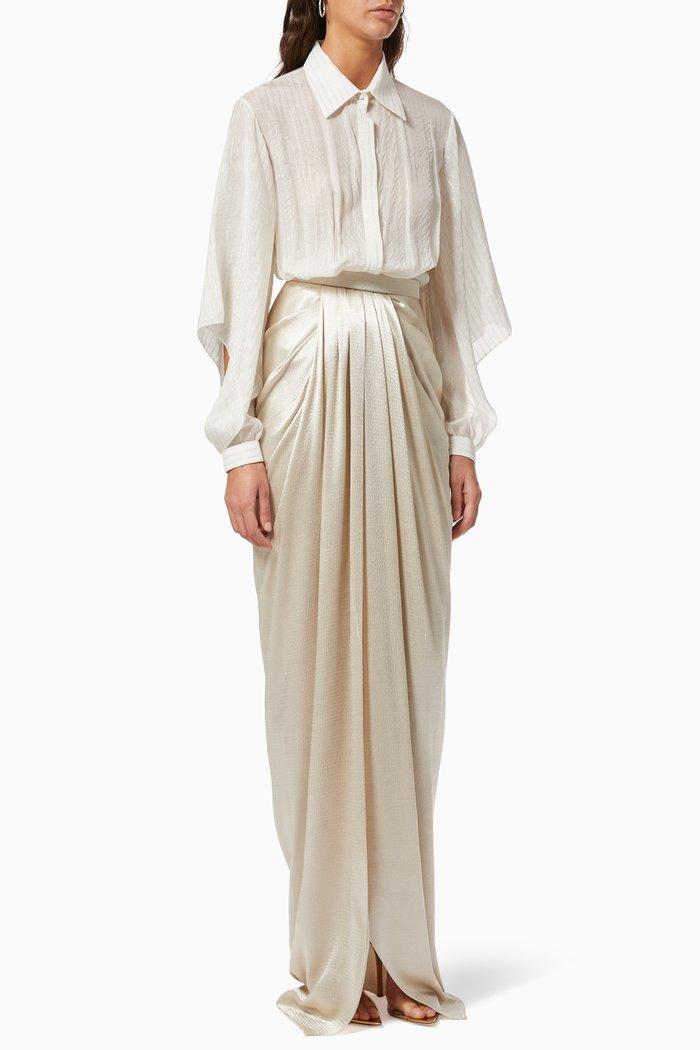 Draped Shirt Dress in Silk