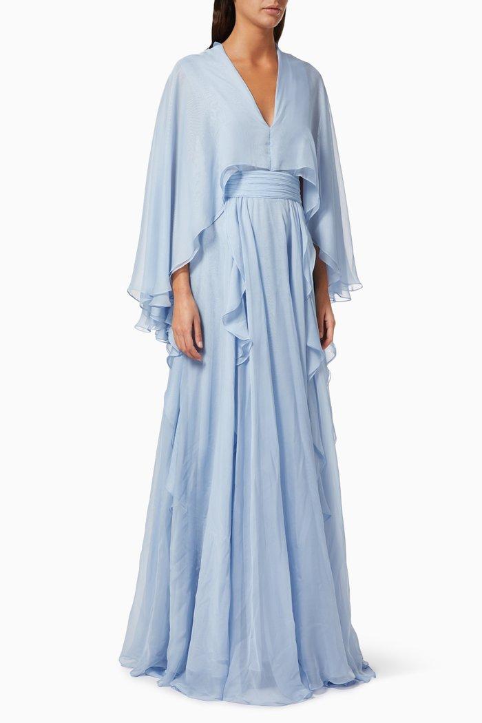 Ruffle Cape Dress in Chiffon