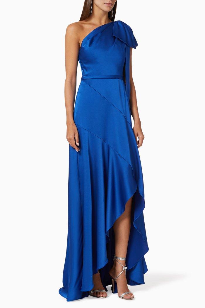 Ariel Asymmetrical Dress in Satin