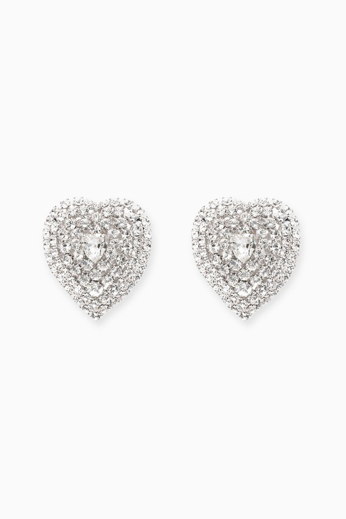 Mini Crystal Heart Clip Earrings