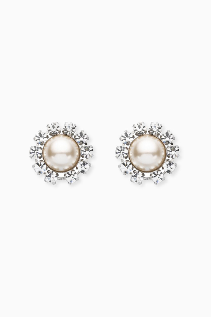 Crystal and Pearl Clip Earrings