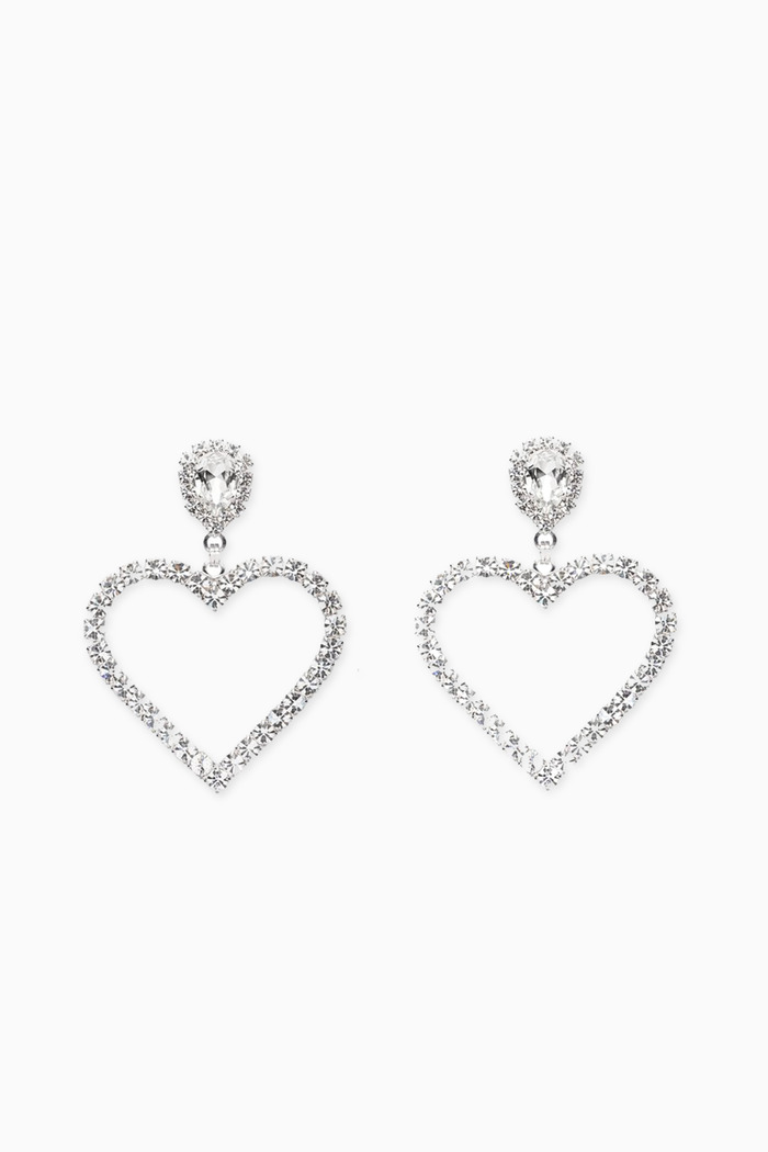 Heart Crystal Clip Earrings
