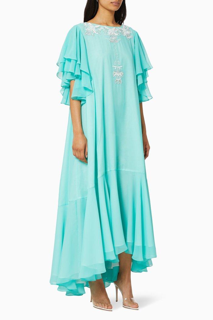 Sand Breeze Ruffle Satin Dress