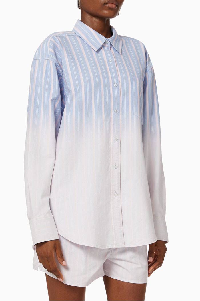 Oxford Shirt in Ombre Striped Cotton