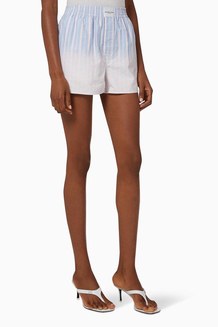 Oxford Boxer Shorts in Ombre Striped Cotton