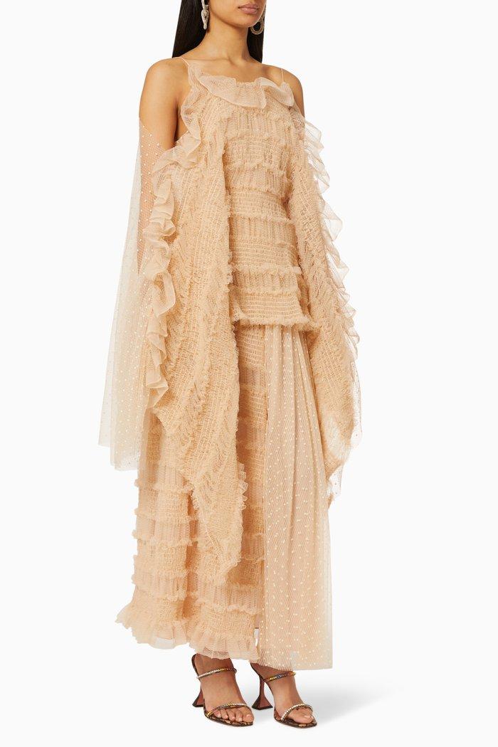 Romance Ruched Point D'Esprit Midi Dress