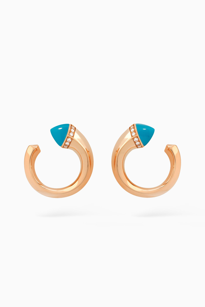 Cleo Venus Diamond Stud Earrings with Turqoise in 18kt Rose Gold