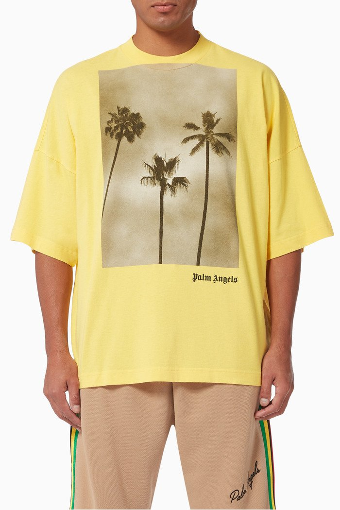 Palm Trees Boulevard Oversized T-shirt in Cotton