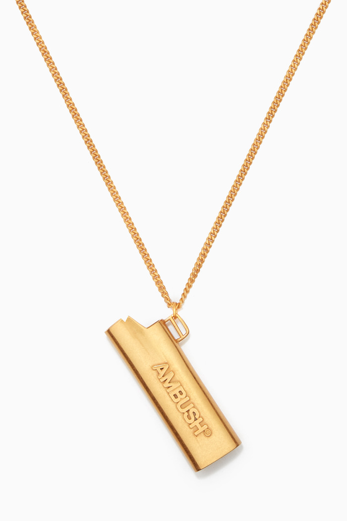 Lighter Case Necklace in Gold-Tone Brass