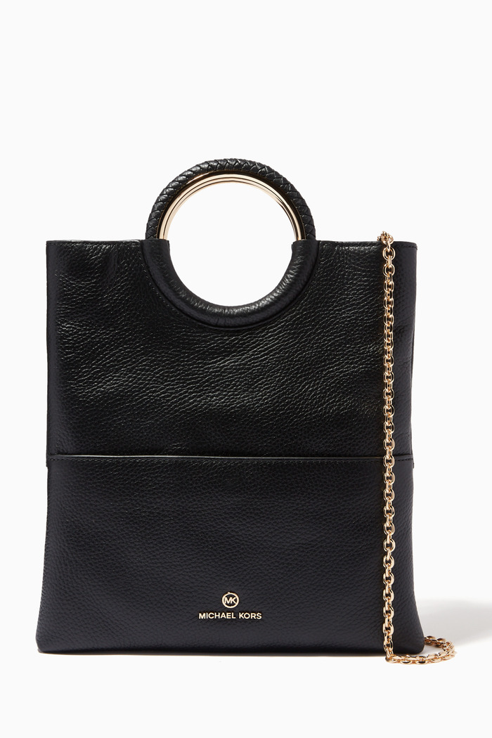 Medium Fold-over Clutch Bag in Leather