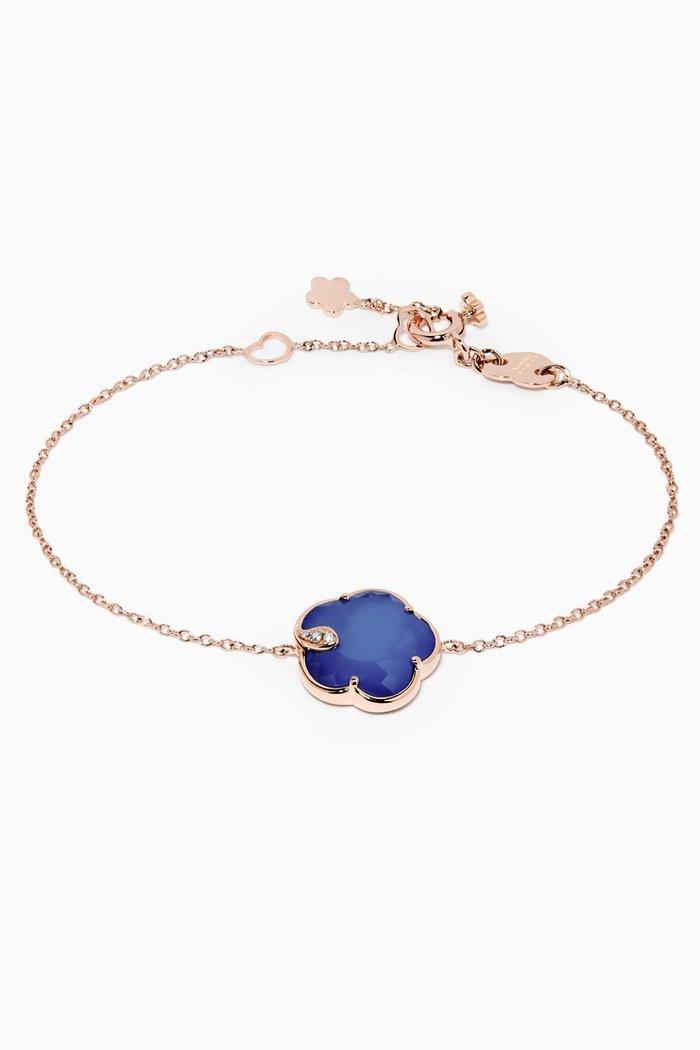 Petit Joli Diamond Bracelet with White Agate & Lapis Lazuli Doublet in 18kt Rose Gold