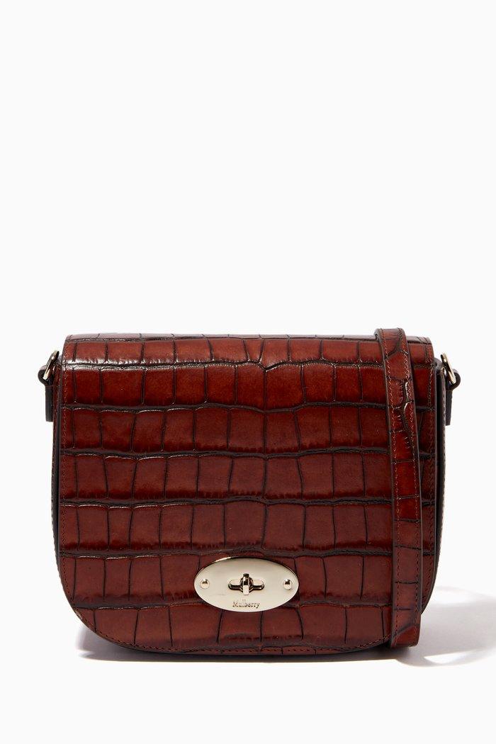 Small Darley Satchel Bag in Vintage Croc-print Leather
