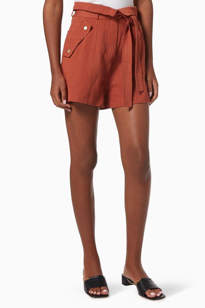 Resort Panelled Shorts in Linen