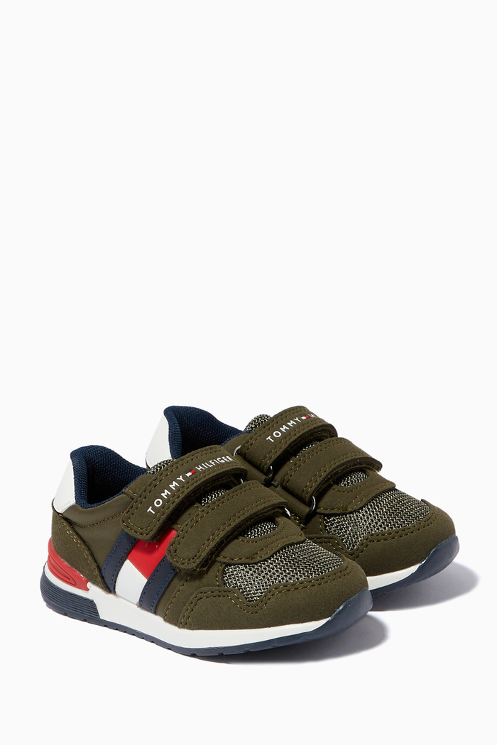 Logo Flag Velcro Sneakers in Leather