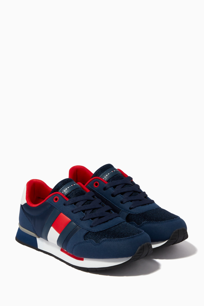 Logo Flag Sneakers in Leather