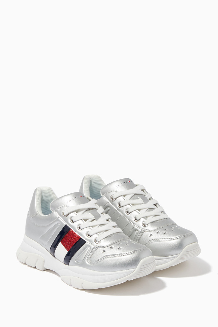 Logo Flag Sneakers in Faux Leather