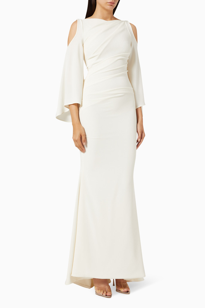 Cold Shoulder Draped Gown in Crepe