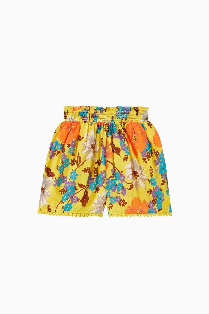 Estelle Shirred Waist Shorts in Cotton