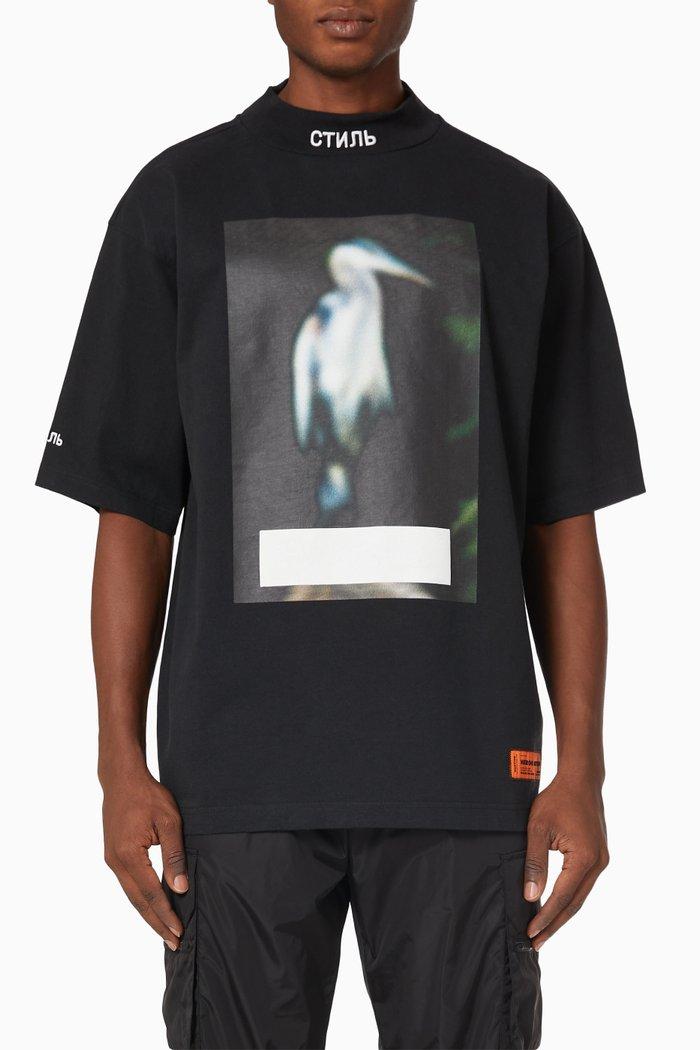 Censored Heron Logo Oversized T-shirt in Cotton Jersey
