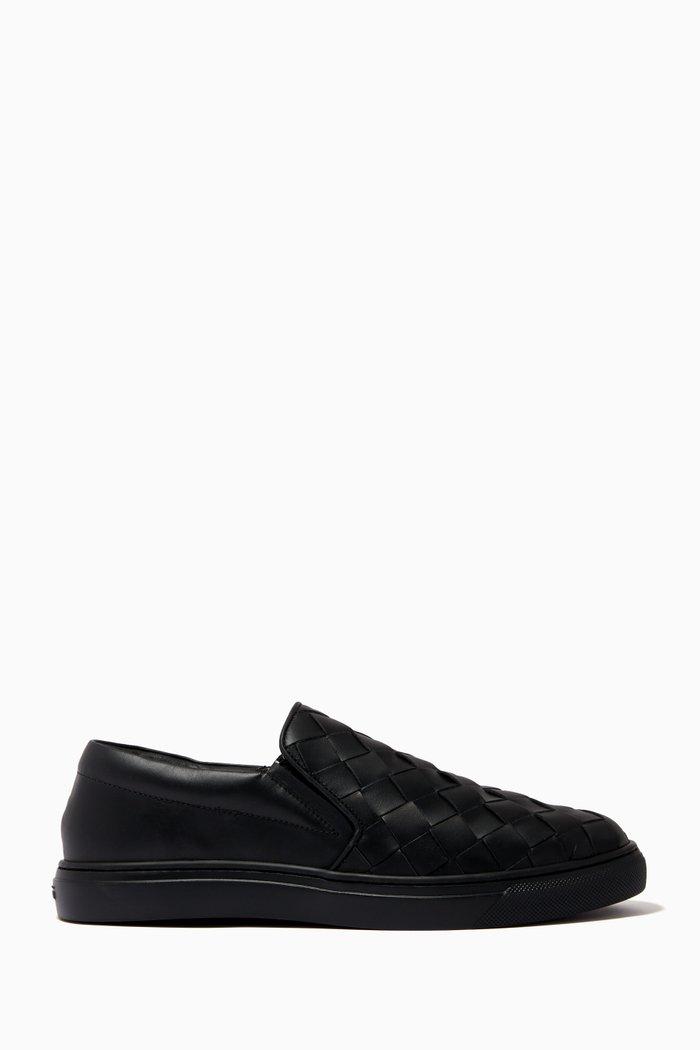 Slip-on Shoes in Woven Calfskin