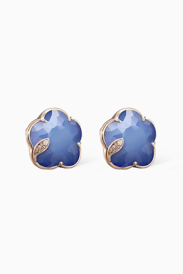 Petit Joli Earrings with Blue Moon & Diamonds in 18kt Rose Gold