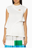 Sleeveless Cut-Out Detail White Jersey Top