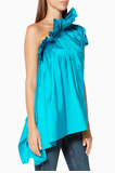Turquoise Ruffle One-Shoulder Top