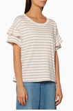 White Striped Ruffle Rodie T-Shirt