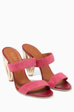 Pink Lacey Suede Sandals