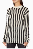 Ivory Technical Stripe Pullover