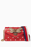 Red Broadway Leather Chain Clutch