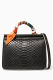 Black Python Mini Stella Satchel