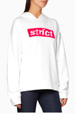 White Strict-Patch Hooded Sweater