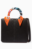 Black Square F Python Top Handle Bag