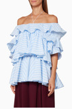 Blue Striped Ruffled Cotton Blouse