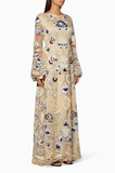 Cream Floral Embroidered Gown