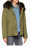 Green Fur-Trimmed Mini Army Parka