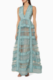 Grey Lace Tiered Sleeveless Gown