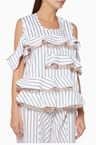 White Striped Cold-Shoulder Lace Top