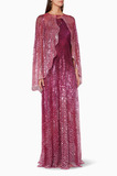 Pink Cosmo Gown With Onyx Cape